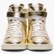 Saint Laurent Gold Lamé Leather High Top Sneaker