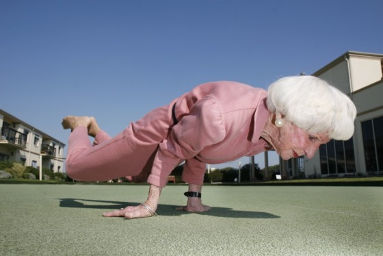 """***EXCLUSIVE, SPECIAL FEES*** MELBOURNE, AUSTRALIA: 83 year old Yoga instructor, Bette Calman, performs some Yoga moves on the 22nd April 2009. At 83 Bette Calman is still practicing and teaching Yoga, teaching up to 11 classes a week. Bette has been practicing Yoga for over 40 years, and has no intention on stopping anytime soon. To Bette age has nothing to do with living a healthy life. """"I didn't realise I was nearly 80 until my 80th birthday."""" Bette moved to Melbourne 8 years ago with thought of retireing, but found her self back in action after her daughter Susie, who is also a Yoga instructor, was pestering for fill-in teachers. PHOTOGRAPH BY BP / BARCROFT MEDIA LTD UK Office, London. T +44 845 370 2233 W www.barcroftmedia.com Australasian & Pacific Rim Office, Melbourne. E info@barcroftpacific.com T +613 9510 3188 or +613 9510 0688 W www.barcroftpacific.com Indian Office, Delhi. T +91 997 1133 889 W www.barcroftindia.com"""
